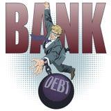 Bedrijfsmens met schuld De illustratie van de voorraad royalty-vrije illustratie