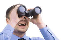 Bedrijfsmens met verrekijkers op witte achtergrond Stock Afbeelding
