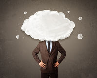 Bedrijfsmens met witte wolk op zijn hoofdconcept Royalty-vrije Stock Foto's