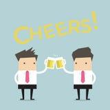 Bedrijfsmens om met bier te roosteren Stock Fotografie