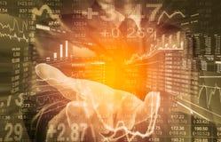 Bedrijfsmens op digitale backgro van de effectenbeurs financiële indicator Royalty-vrije Stock Fotografie