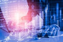 Bedrijfsmens op digitale effectenbeurs financiële achtergrond cijfer Royalty-vrije Stock Fotografie