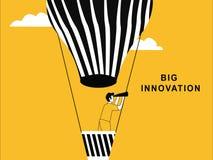 Bedrijfsmens op hete luchtballon royalty-vrije illustratie
