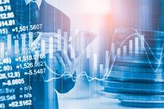 Bedrijfsmens op indicator van de effectenbeurs de financiële handel backgroun Stock Afbeeldingen