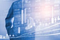 Bedrijfsmens op indicator van de effectenbeurs de financiële handel backgroun Stock Afbeelding