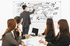 Bedrijfsmens opleiding over wolk gegevensverwerkingsstructuur Stock Afbeeldingen