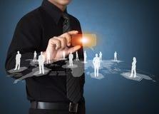 Bedrijfsmens wat betreft pictogram van sociaal netwerk Royalty-vrije Stock Afbeelding