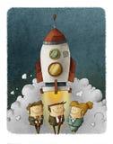 Bedrijfsmensen bij een lancering van een ruimteraket royalty-vrije illustratie