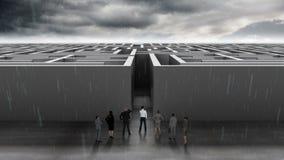 Bedrijfsmensen bij ingang van labyrint stock illustratie