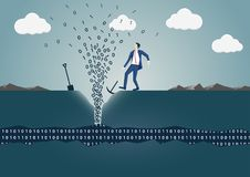 Bedrijfsmensen boorgat om de lente van informatie te vinden vector illustratie