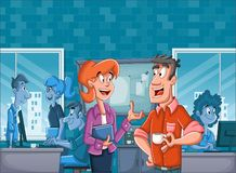 Bedrijfsmensen in bureauwerkruimte met bureaus stock illustratie