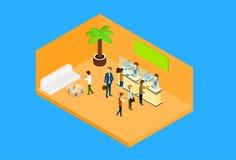 Bedrijfsmensen in 3d Isometrisch van Bureauhall woman reception client Royalty-vrije Stock Fotografie