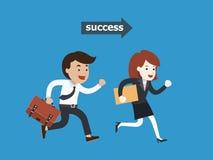Bedrijfsmensen die aan succes, Vector lopen illustr Royalty-vrije Stock Foto's