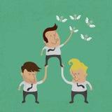 Bedrijfsmensen die als groep het geld, eps10 werken te grijpen vect Stock Foto