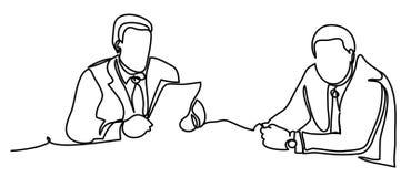 Bedrijfsmensen die bespreking hebben bij conferentielijst in bureau Professionele vectordieillustratie op wit wordt geïsoleerd stock illustratie