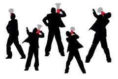 Bedrijfsmensen die door megafoon schreeuwen Royalty-vrije Stock Fotografie