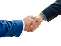 Bedrijfsmensen die Handen op het Witte Close-up schudden Als achtergrond Royalty-vrije Stock Foto
