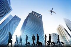 Bedrijfsmensen die het Collectieve Concept van het Reisvliegtuig lopen Royalty-vrije Stock Foto's