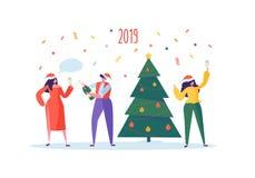 Bedrijfsmensen die Nieuwjaar 2019 Partij vieren Vlakke Karakters in Santa Hat Toasting Champagne De vooravond van Kerstmis royalty-vrije illustratie