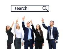 Bedrijfsmensen die onderzoekslijn bekijken Stock Foto