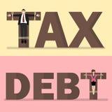 Bedrijfsmensen die op belasting en schuld worden gekruisigd Stock Foto's