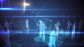 Bedrijfsmensen die op blauwe achtergrond verbinden vector illustratie