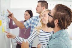 Bedrijfsmensen die op muur met kleverige nota's en tekeningen richten Stock Foto