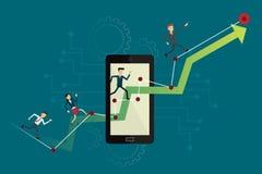 Bedrijfsmensen die op omhooggaande grafiekweg aan doel op mobiel lopen Vecto Royalty-vrije Stock Foto