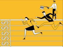 Bedrijfsmensen die in ras lopen vector illustratie