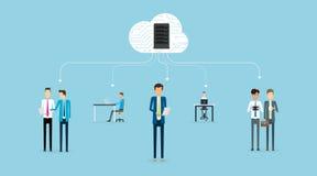 Bedrijfsmensen die samenwerking werken aan het concept van het wolkennetwerk vector illustratie