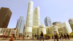 Bedrijfsmensen die trogstad lopen cityscape horizon stock footage