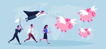 Bedrijfsmensen die van de de groeirijkdom van vangst vliegend piggybank varkens van de het conceptenzakenman van de de vrouwenwer vector illustratie