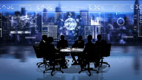 Bedrijfsmensen die vergadering in conferentieruimte hebben tegen cityscape royalty-vrije illustratie