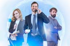 Bedrijfsmensen en digitaal technologieconcept royalty-vrije stock afbeelding