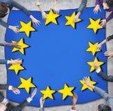 Bedrijfsmensen en Europese Unie Vlag Royalty-vrije Stock Afbeelding