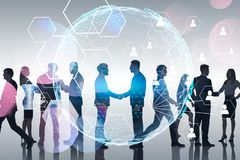 Bedrijfsmensen en globale sociale verbinding stock fotografie