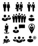 Bedrijfsmensen en middelenpictogrammen Stock Afbeeldingen