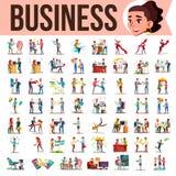 Bedrijfsmensen Geplaatst Vector De Situaties van de bureaulevensstijl Moderne Bedrijfarbeiders En collega's die werken communicer royalty-vrije illustratie