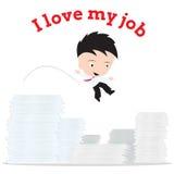 Bedrijfsmensen het werken en sprong aan al document en het woord Stock Foto