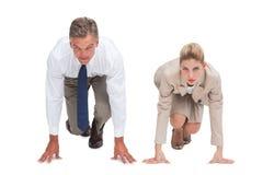 Bedrijfsmensen klaar op beginnende lijn Stock Foto