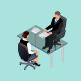 Bedrijfsmensen in kostuumzitting bij de lijst Vergadering Het Gesprek van de baan Baankandidaten Concept het inhuren van arbeider stock illustratie