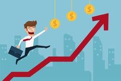 Bedrijfsmensen lopende bovenkant van grafiek en het ernaar streven om zijn doel van hogere winsten te bereiken Stock Foto