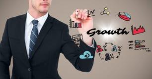 Bedrijfsmensen medio sectie met teller en de groeikrabbels met gloed tegen bruine achtergrond vector illustratie