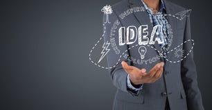 Bedrijfsmensen medio sectie met witte ideekrabbels tegen grijze achtergrond Stock Fotografie