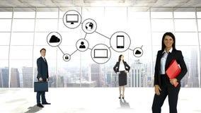 Bedrijfsmensen met bedrijfspictogrammen stock videobeelden