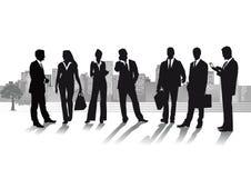 Bedrijfsmensen met cityscape Stock Fotografie