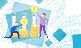 Bedrijfsmensen met de Munt Rich Businesspeople Finance Success van het Muntstukgeld Stock Afbeelding