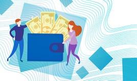 Bedrijfsmensen met de Volledige Munt Rich Businesspeople Finance Success van het Portefeuillegeld Stock Afbeeldingen