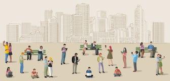 Bedrijfsmensen met slimme telefoons en computers royalty-vrije illustratie