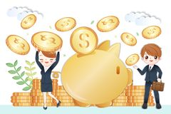Bedrijfsmensen met spaarvarken stock illustratie